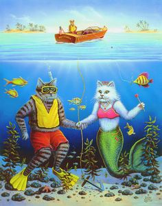 Whimsical Cat Art & Cat Prints for Sale Fantasy Mermaids, Mermaids And Mermen, Mermaid Cat, Unicorn Cat, Weird And Wonderful, Print Artist, Cool Cats, Cats And Kittens, Kitty Cats