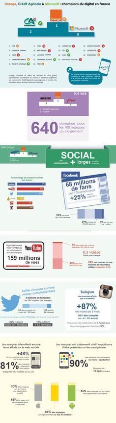 Le rayonnement numérique des 100 plus grandes marques françaises [Infographie] | Agence web 1min30, Inbound marketing et communication digitale 360°