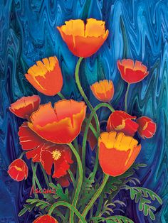 Alaska Poppies 12x16 wrapped silk giclee by Teresa Ascone.