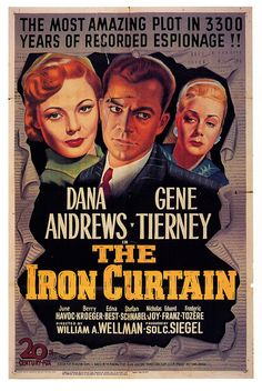Dana Andrews and Gene Tierney in The Iron Curtain. #vintage #movies #1940s