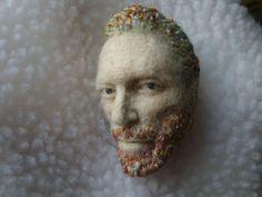 Needle felted portrait of van gogh brooch