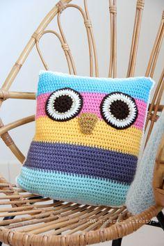owl crochet cushion cover