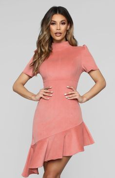Would You Be Mine Asymmetric Dress - Mauve Available In Mauve Corduroy Midi Dress Asymmetric Hem Mock Neck Short Sleeve Ruffle Hem Back Zipper Stretch Cotton Spandex Work Dresses For Women, Stylish Clothes For Women, Evening Gowns On Sale, Birthday Party Outfits, Mauve Dress, Popular Outfits, Asymmetrical Dress, Dress First, White Fashion