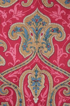 Turkey Red c 1850 Indienne large scale French fabric hand block printed material ~ Fabulous design  www.textiletrunk.com