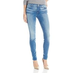 7 For All Mankind Women's The Skinny Jean with Light Gold Squiggle ($198) ❤ liked on Polyvore featuring jeans, stretchy jeans, blue jeans, blue skinny jeans, stretch denim skinny jeans and stretchy skinny jeans