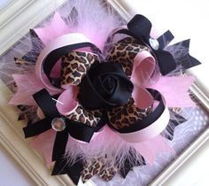 Over the Top Leopard Print, Pink and Black Boutique Hair bow, Stacked Boutique Bow on Etsy, $13.50