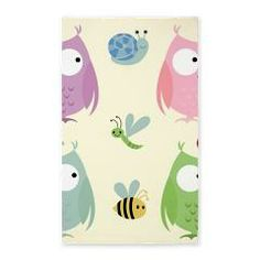 Owl Friends pink 3'x5' Area Rug> Owl Friends - Pink> DrapeStudio  See all of the coordinating products for this design in our shop at www.cafepress.com/drapestudio