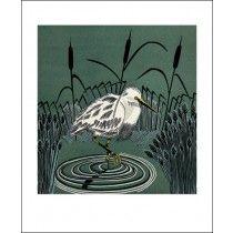 Little Egret linocut print by Cathy King