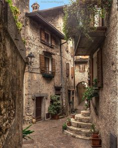 Tremosine Sul Garda, Italy Photo by Italian Courtyard, Stone City, Stone Town, Garda Italy, Village Photos, Italian Village, Italian Houses, Italian Lakes, Lake District