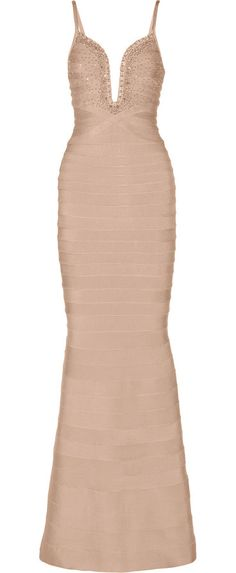 On SALE at 60% OFF! embellished bandage gown by Herve Leger. Designed to sculpt and hold your figure . Firm, stretchy fabric . Those with a curvy figure may wish to take the next...