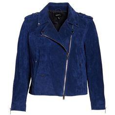 Plus Size Women's Rebel Wilson X Angels Suede Moto Jacket ($200) ❤ liked on Polyvore featuring outerwear, jackets, vintage biker jacket, blue motorcycle jacket, plus size suede jacket, women's plus size jackets and vintage motorcycle jacket
