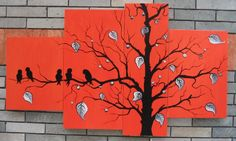 handpainted 5 piece black red abstract oil paintings on canvas wall art birds tree pictures for living room home decoration(China (Mainland)...