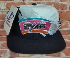 62b736f4 San Antonio Spurs Vintage Snapback Logo Athletic Splash Hat NBA Cap Rare NWT