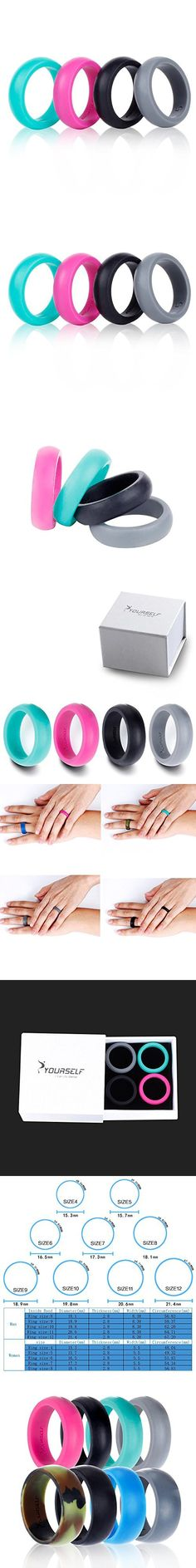 Silicone Wedding Ring Band-4 Pack-Safe Flexible Comfortable Medical Grade Love Rings Set for Men Women- Fit for Sports & Outdoors, Workout, Fitness, Athletes, Engineers+ Gift Box-Syourself (Women 7)