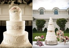 Downton Abbey wedding cake designs with photo by Captured by Kate left and cake by Jeffrey LeBron right