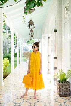 Jennifer Lake Style Charade in Mara Hoffman white floral culottes, a Kate Spade tassel backpack sunhat, and Kate Spade Yellow dress in Dominican Republic Casual Dresses, Girls Dresses, Summer Dresses, African Fashion Dresses, Fashion Outfits, Indian Attire, Elegant Outfit, Boutique Dresses, Designer Dresses