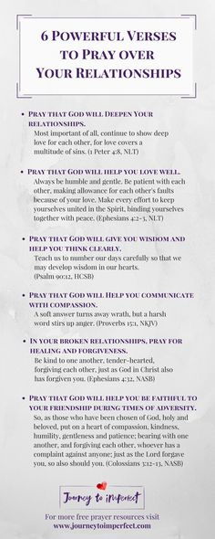 6 Powerful Verses to Pray over Your Relationships Prayer changes things, especially when it comes to relationships! Pray these powerful verses over your relationships for lasting impact, healing, and renewal from a God who cares! Relationship Prayer, Marriage Prayer, Marriage Tips, Prayers For Healing Relationships, Relationship Verses, Couples Prayer, Marriage Quotes From The Bible, Healthy Marriage, Scriptures On Relationships
