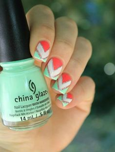 You always think that only sophisticated designs can rock your nails? I have to say that you are misled. Even some simple shapes and simple elements can create the stylish nail art. Today prettydesigns will show you some easy nail art ideas. Really Cute Nails, Super Cute Nails, Cute Nail Art, Easy Nail Art, Love Nails, How To Do Nails, My Nails, Color Nails, Pretty Nails