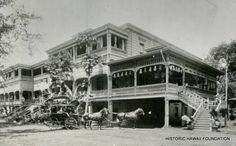 The orginal Royal Hawaiian Hotel was located at Richards and Hotel Street in Downtown Honolulu.  It was was demolished in 1926.  Photos courtesy of the Hawaii State Archives.