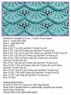 A stitch pattern - knitting Lace Knitting Stitches, Lace Knitting Patterns, Knitting Charts, Easy Knitting, Knitting Designs, Knitting Projects, Stitch Patterns, Sewing Patterns, Crochet Stitch