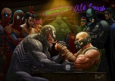 Awesome Fan Art Featuring Tom Hardys Bane From The Dark Knight Rises Battling Venom