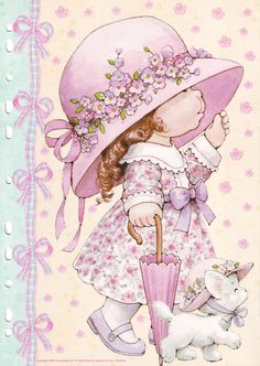 Ruth Morehead - Holly Hobbie ish Pink Girl with White Kitty Holly Hobbie, Vintage Cards, Vintage Postcards, Vintage Pictures, Cute Pictures, Sarah Key, Decoupage Paper, Cute Illustration, Illustrations