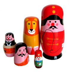 Circus-themed stacking dolls