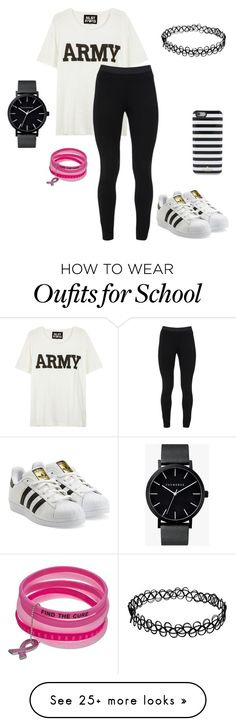 """schools day"" by saranidus on Polyvore featuring NLST, Peace of Cloth, adidas Originals, Kate Spade and The Horse"