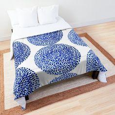 """""""Blue Bloom """" Comforter by YollieBeeArt   Redbubble"""