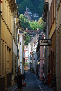 View when walking down the street in Heidelberg