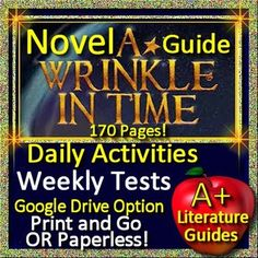 Digital Resource - Free up your time with A Wrinkle in Time, a 170 page common-core aligned Complete Literature Guide for the novel by Madeleine L'Engle.It can be used with or without Google Drive (Paperless OR Print and Go) This literature guide has everything that you will need to teach and assess the novel.