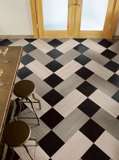 Ideas Checkered Flooring Ideas For Awesome Room Look Black And White Vinyl Wood Flooring For Kitchen Wooden Low Bar Stool With Metal Legs Wooden Bar Table Glass Door Wooden Framed Vinyl Wood Flooring Design Ideas Vinyl Wood Flooring, Linoleum Flooring, Wood Vinyl, Vinyl Tiles, Kitchen Flooring, Plank Flooring, Concrete Kitchen, Kitchen Wood, Hardwood Floor
