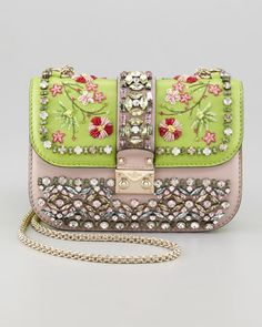 Glam-Lock Small Flap Bag, Poudre/Pop Apple by Valentino at Neiman Marcus.