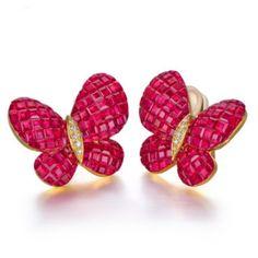 Boucles d'oreilles papillon Rubis et Diamant or