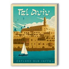 Americanflat Tel Aviv Vintage Advertisement on Gallery Wrapped Canvas Size: