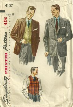 Simplicity 4107 1950s  Mens Sport Coat  Blazer  Vest Pattern by mbchills mens vintage sewing pattern
