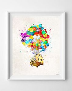 Up Disney Print, Balloon House, Watercolor Art, Flying House, Disney Poster, Kids Room Decor, Wall Decor, Bedroom Art, Back To School