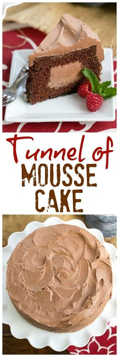 Tunnel of Mousse Cake | A fine crumb chocolate cake filled and frosting with a tdreamy chocolate mousse! @lizzydo