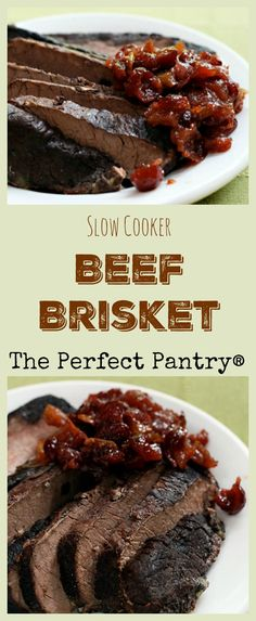 Fall-apart-tender beef brisket, just like my grandmother would have made if she'd had a crockpot! ThePerfectPantry.com