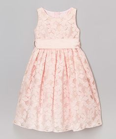 Light Pink Jasmine Lace Dress - Girls