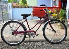 """Murray """"Westport""""  Found a two wheeled treasure just like this one at the flea market Sunday!!! (Mine has rear double basket) <3"""