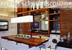 Eis a solução: Escondê-las! Who has the small kitchen, integrated to the service area or who has the Laundry Decor, Laundry Storage, Laundry Room, Kitchen And Bath, Kitchen Dining, Dining Area, Decor Interior Design, Interior Decorating, Beautiful Dining Rooms