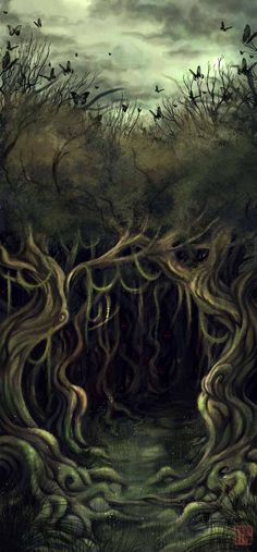 Hobbit Illustration - Mirkwood...this is an accurate representation of how scary this forest seems in the book.