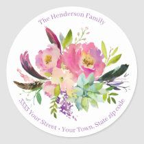 Watercolor Boho Pink and Purple Floral Birthday Napkins | Zazzle.com Watercolor Succulents, Floral Watercolor, Happy 90th Birthday, Succulent Arrangements, Return Address, Round Stickers, Different Shapes, Custom Stickers, Activities For Kids