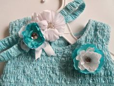Adorable  Aqua Blue Dress and Matching Flower Headband by ShabbyUniqueChic, $24.00 Ready to ship! #littlegirls, #KidsFashion, #girlsdresses