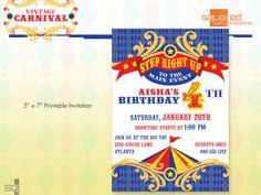 Vintage Carnival Circus Printable Birthday Party Invitation - DIY Print - Primary Colors. $15.00, via Etsy.