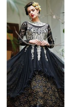 Trendy Black Embroidered Salwar Kameez