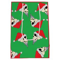 Christmas Skulls with Santa Hats Gift Bag Green