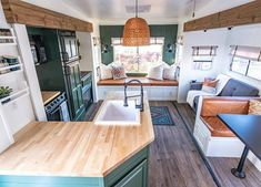 Rv Living, Tiny Living, Compact Living, Fifth Wheel Living, School Bus Tiny House, Camper Renovation, Camper Remodeling, Bedroom With Bath, Camper Makeover