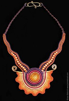 Fiber art jewelry by Joan Babcock  Maybe I should try something like this in polymer clay just for the phun of it.